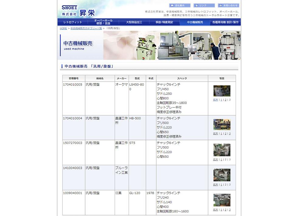 株式会社昇栄様 中古販売機器の登録管理システム